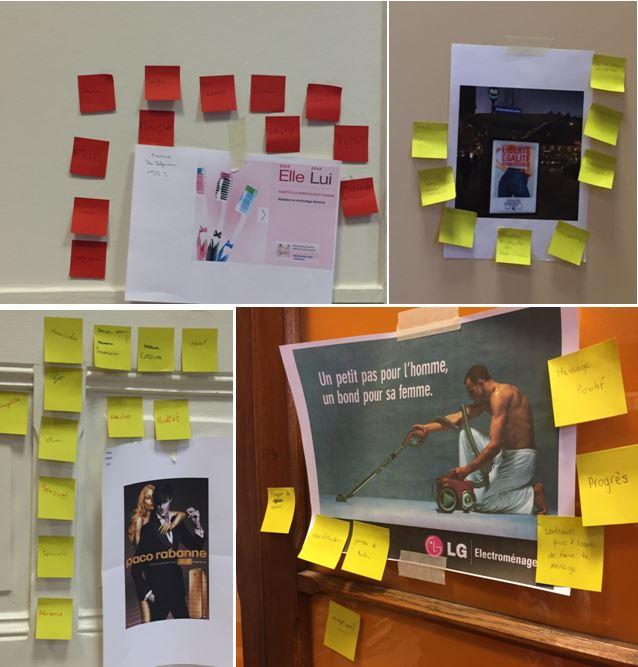 Brainstorming en groupe autour des publicités choisies par les élèves